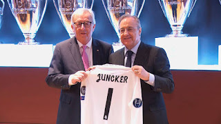 Jan Claude Juncker, Jefe de la Comisión Europea visitó el Bernabéu