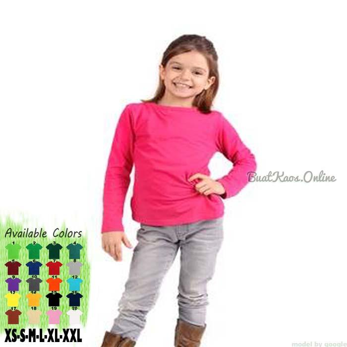 Kaos Polos Lengan Panjang Anak Perempuan
