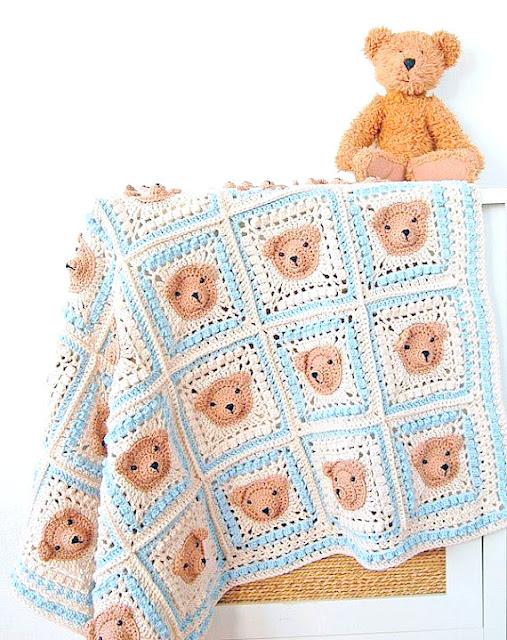 Bear baby blanket Crochet pattern