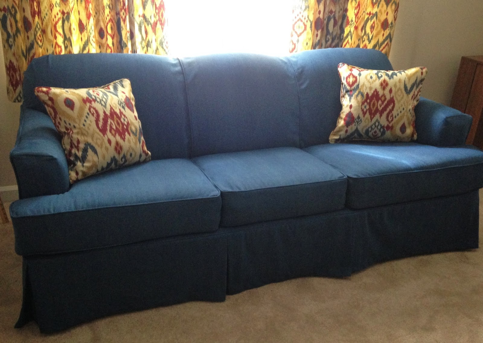 Slipcovers For Sofa Cushions Only Chesterfield Style And Chair Pam Morris Sews: Denim On A Sleeper