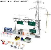3dsMax高精度公路設施系列3D模型組合包2下載