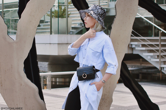 Japanese Fashion Blogger,MizuhoK,20190608OOTD, Front Low Shop=blue trench dress, ZARA= hat, half leggings, sandals, SheIn=waist bag, Olivia Burton= watch,