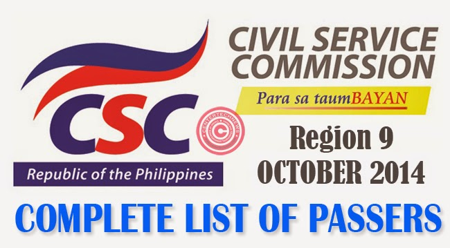 Region 9 Civil Service Exam Results October 2014- Paper and Pencil Test List of Passers