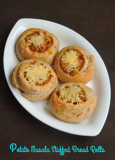 Potato Stuffed Bread, Potato Masala Stuffed Bread Rolls