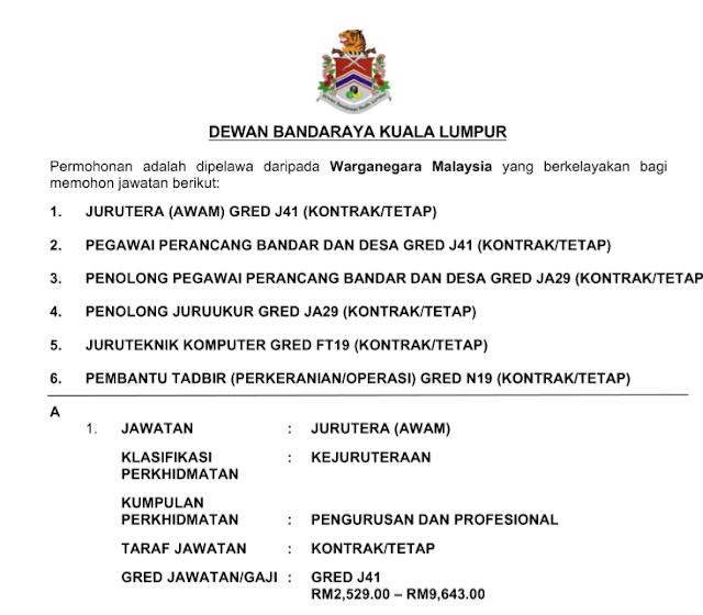 Iklan Jawatan Kosong di Dewan Bandaraya Kuala Lumpur (DBKL)
