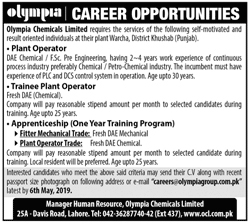 Career Opportunities in Olympia Chemicals Limited