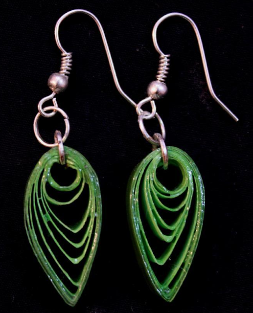Long tail leaf model quilling earrings - quillingpaperdesigns