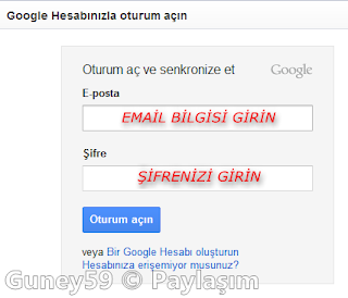 Google Chrome otorum aç senkronize et