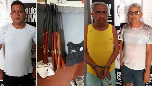 Polícia apreende grande quantidade de armas de fogo, munições e prende comerciantes em Vargem Grande