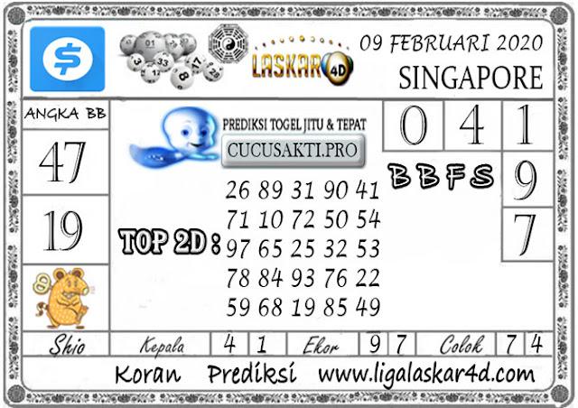 Prediksi Togel SINGAPORE LASKAR4D 09 FEBRUARI 2020