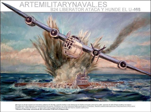 Pintura al oleo del ataque y hundimiento del submarino aleman U-468 por el avión de la RAF pilotado por Lloyd Trigg que recibió la Cruz Victoria a petición del comandante aleman del submarino.
