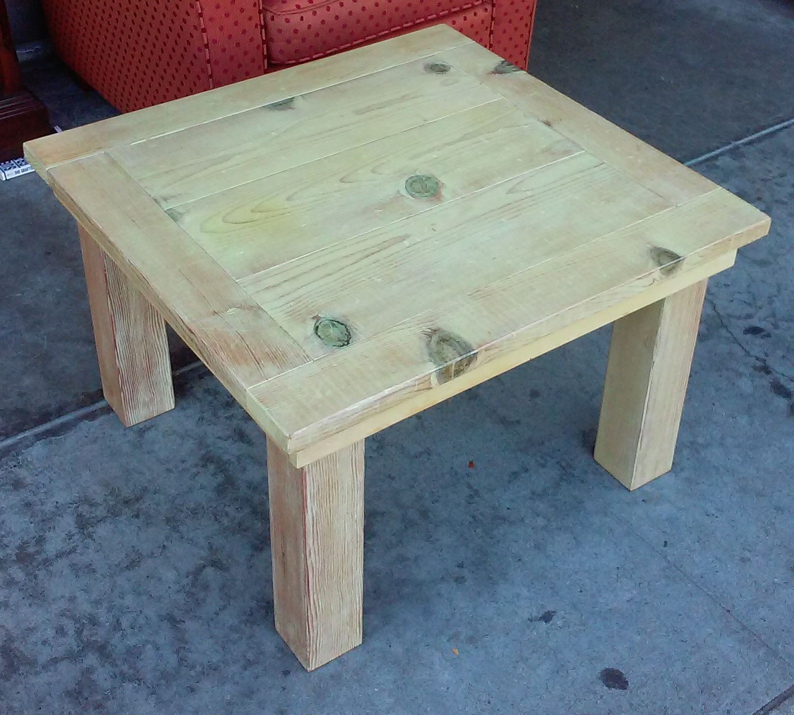 SOLD 2.5u0027 X 2u0027 Knotty Pine End Table   $25