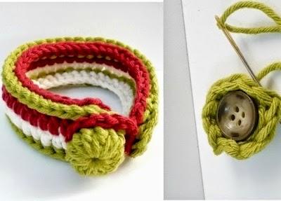 Pulsera tres colores con boton de crochet