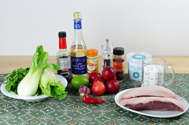 Ingredients for duck with spiced plum jam and pak choi
