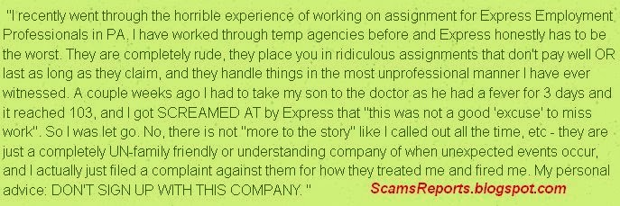 Express Employment Professionals scam, complaints and reviews