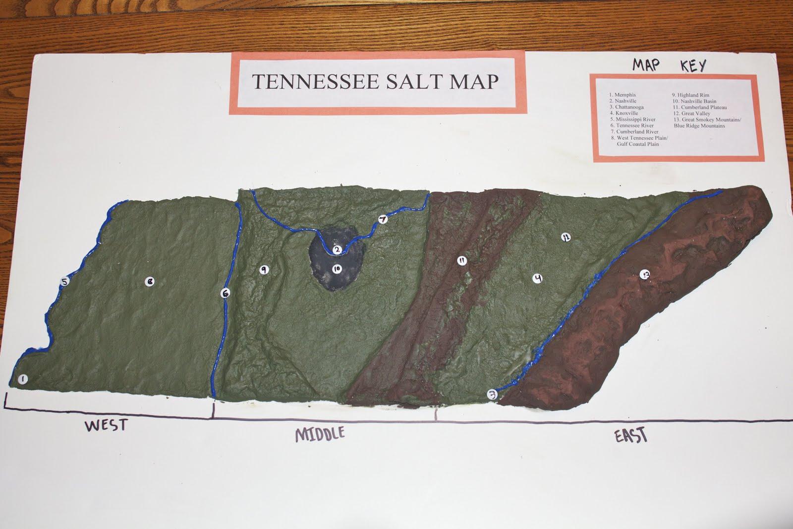shoutingforha: The Tennessee Salt Map on 3d salt-dough maps, social studies maps, salt-dough landforms maps,