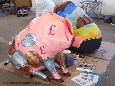 M P Davey pig henson money bank design