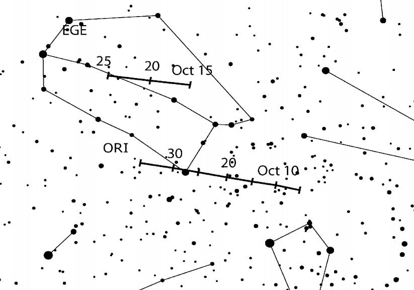 Radiant roju Orionidów. (Credit: IMO)