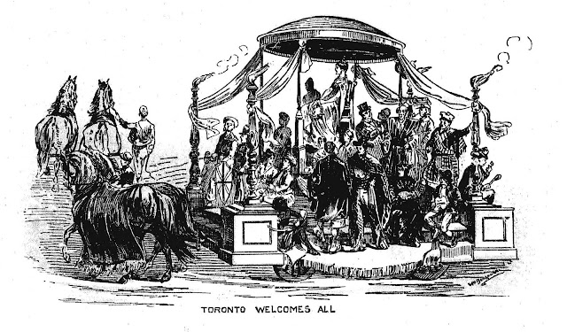 1884 Toronto parade float, Toronto welcomes all