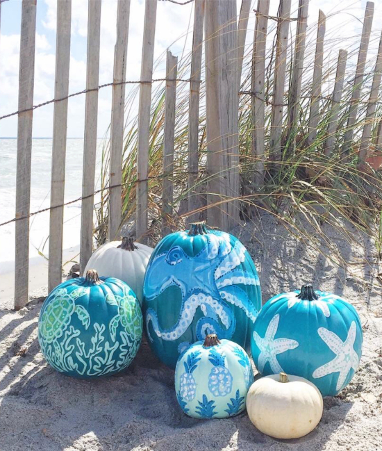 Beach Pumpkins Hand Painted Decorated Carved from Etsy Sellers