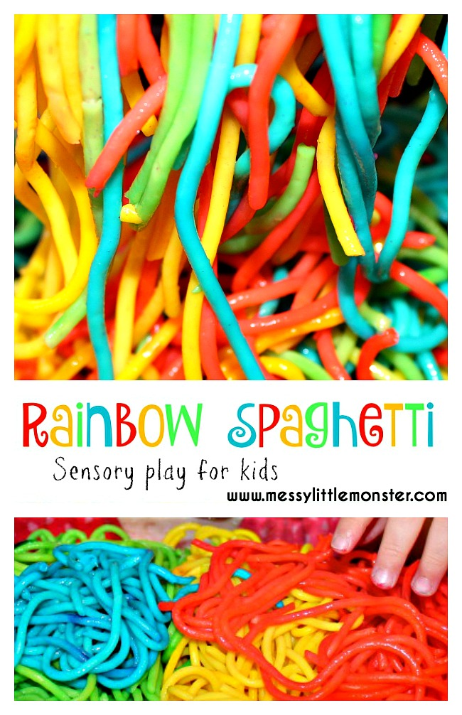 How to make rainbow spaghetti. A sensory rainbow play activity for babies, toddlers and preschoolers. Edible/ taste safe play for kids. A book activities to accompany 'A Rainbow of my Own' by Don Freeman.