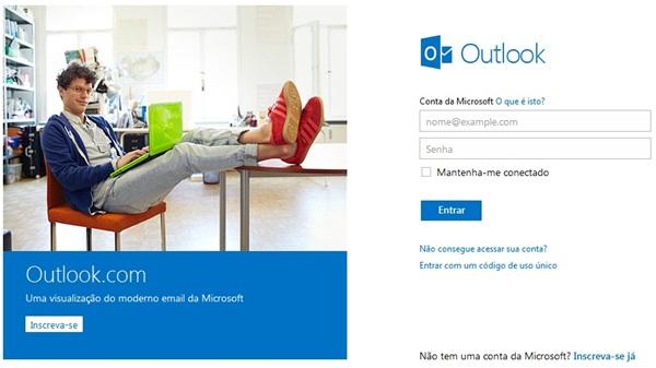 Fazer login direto no e-mail Outlook