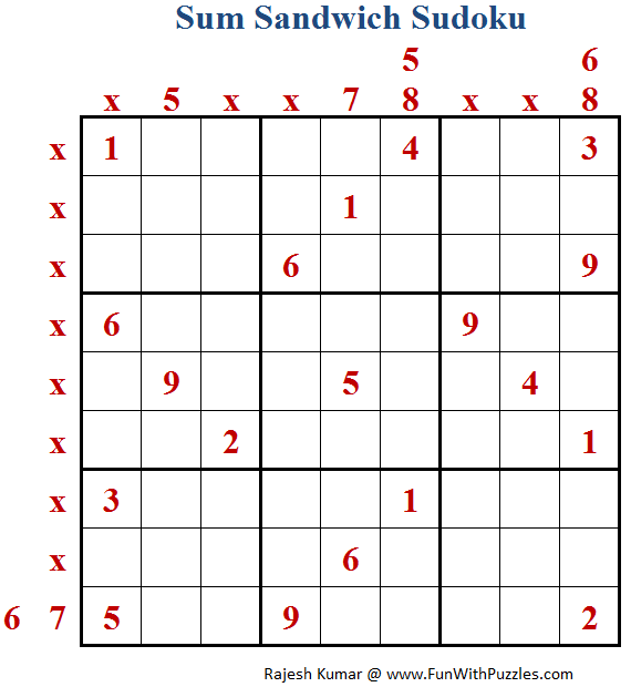 Sum Sandwich Sudoku (Fun With Sudoku #173)-Fun With Puzzles