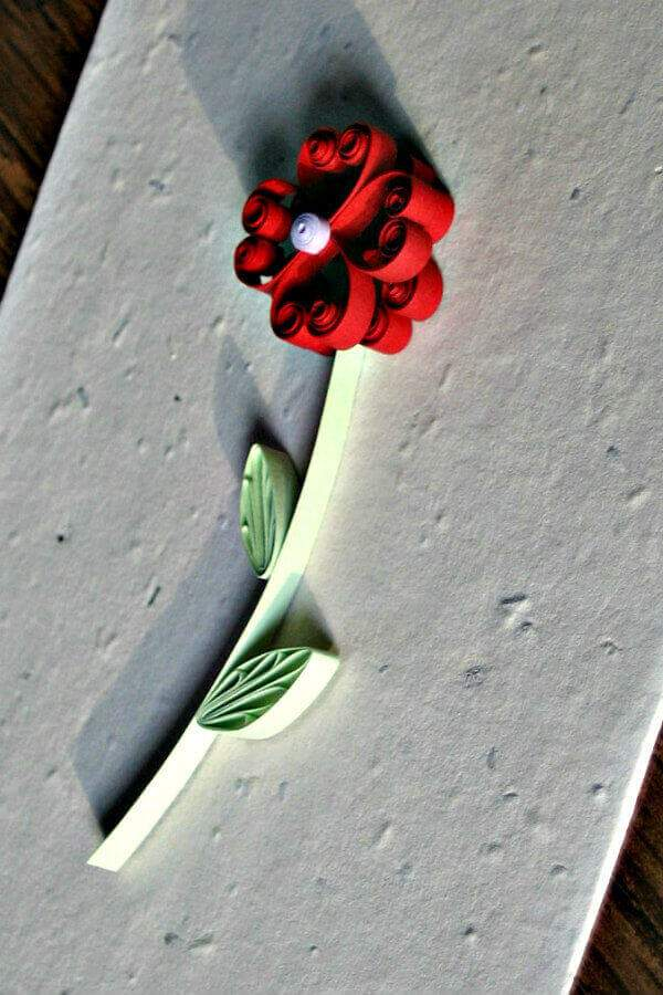 quilled long-stem flower on seed paper