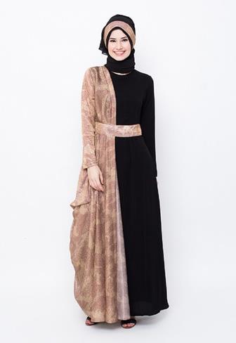 Contoh Gamis Batik Kombinasi Polos Modern