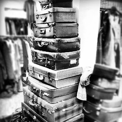 Black and White: Tower of Old Suitcases