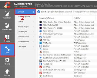 hapus aplikasi pc menggunakan aplikasi ccleaner
