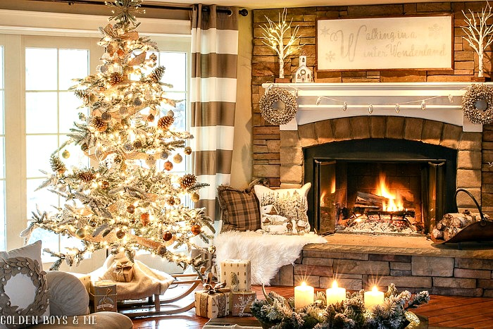 Stone fireplace with neutral Christmas decor - Golden Boys and Me Holiday Home Tour