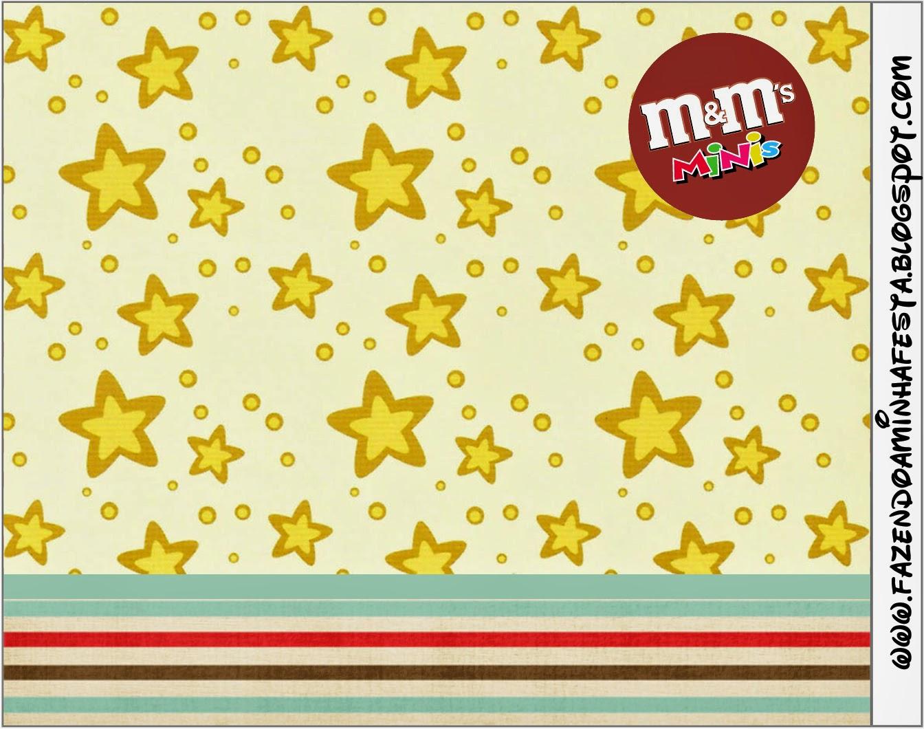 Etiqueta M&M para Imprimir Gratis de Estrellas Doradas y Rayas de Colores.