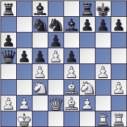 Partida de ajedrez Marín-Golmayo después de 14…b5, Barcelona 1926