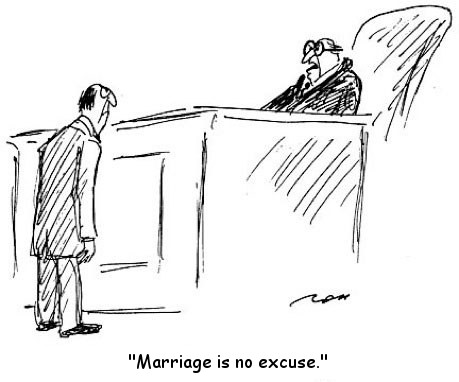 Funny marriage is no excuse cartoon joke picture