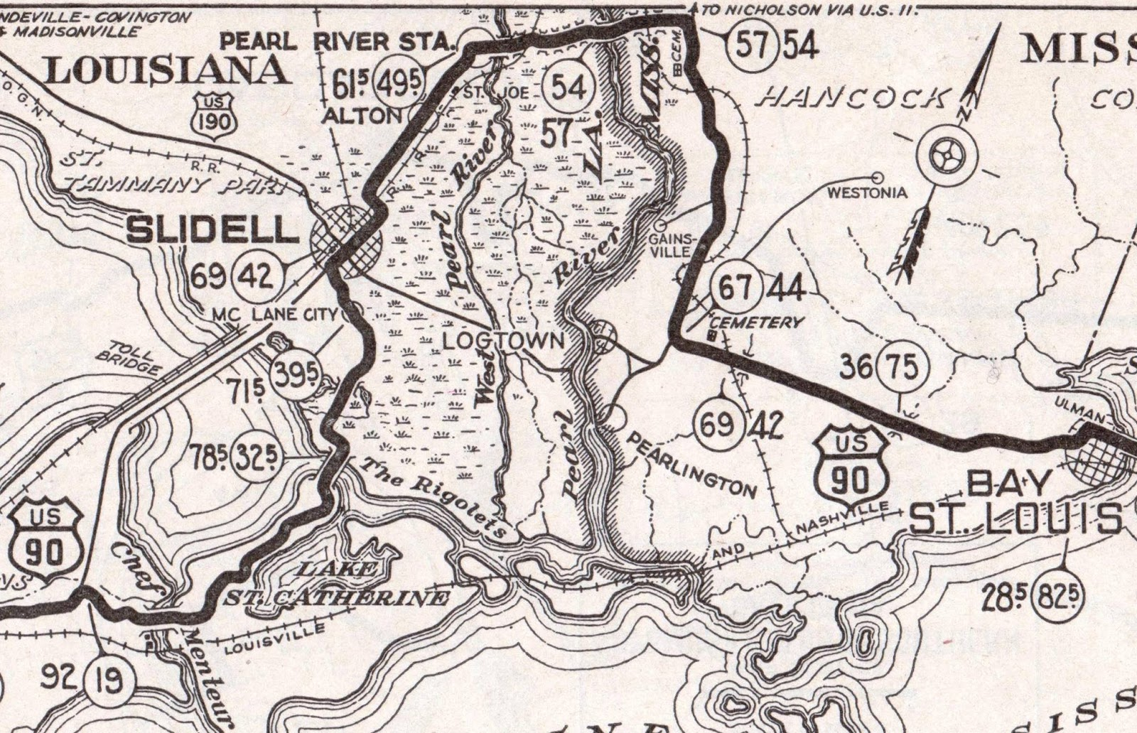 map from 1926 showing route of old spanish trail in st tammany red
