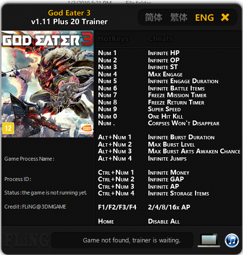 Trainer Cheat Game God Eater 3