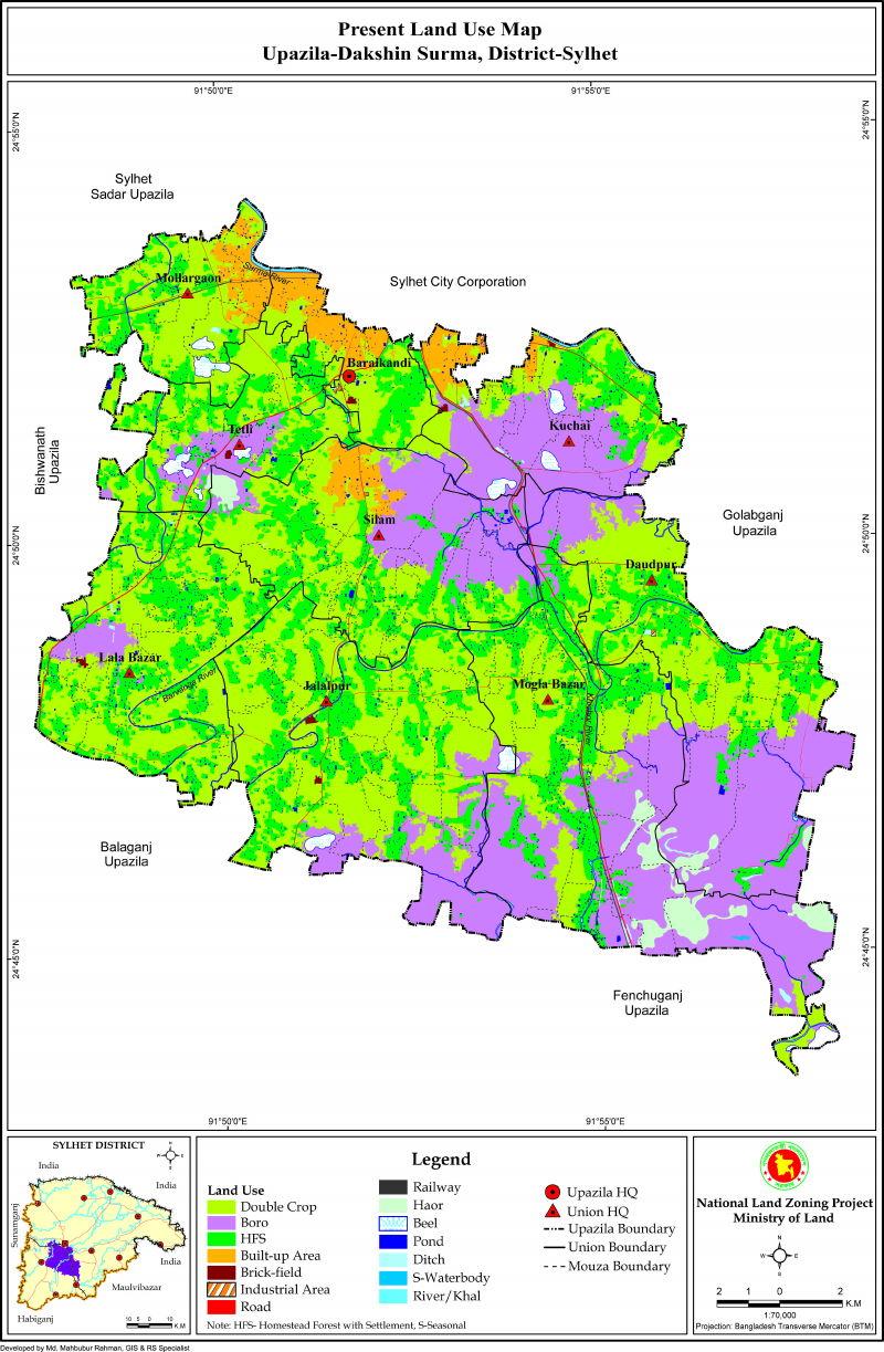 Dakshin Surma Upazila Mouza Map Sylhet District Bangladesh