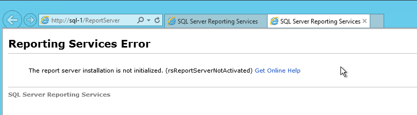 the report server installation is not initialized