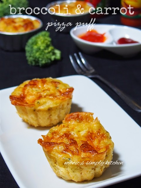 broccoli & carrot pizza puff recipe