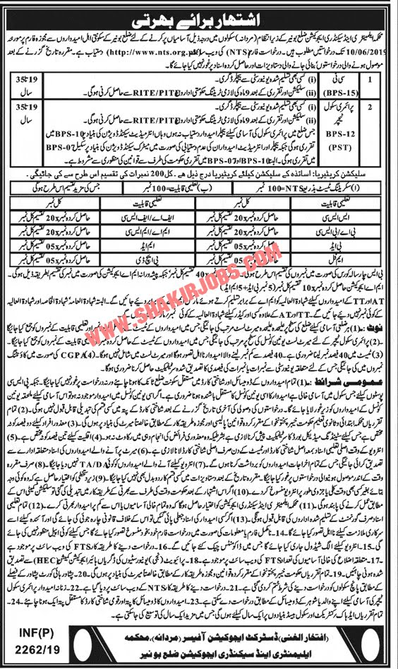 Elementary And Secondary Education Jobs In Bunir Through NTS