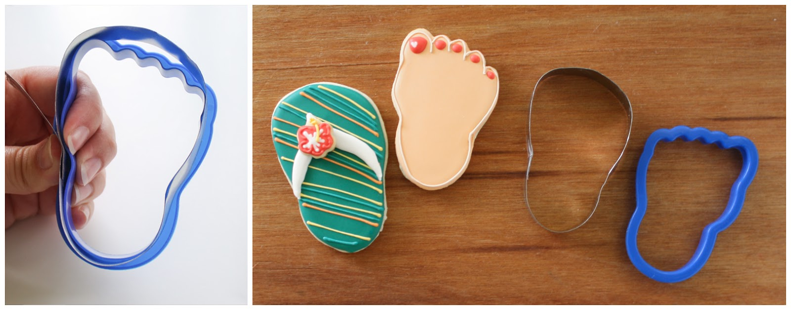 b5ff9f819960 Then I used the foot cookie cutter as a form to wrap and bend the metal  strip and now I have a flip flop just the right size for the foot!