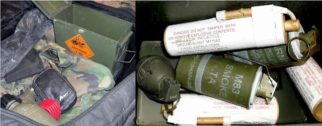 Two Live Smoke Grenades, Practice Grenade, and 3 Ground Burst Simulators