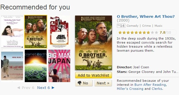 Tampilan rekomendasi film sejenis