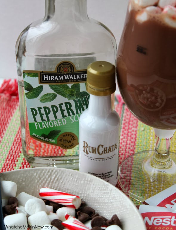 Spiked Hot Chocolate - Peppermint Schnapps and RumChata -- warms the tummy on a chilly night!