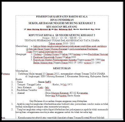 Download SK Tata Usaha (TU) Sekolah Dasar Versi Terbaru