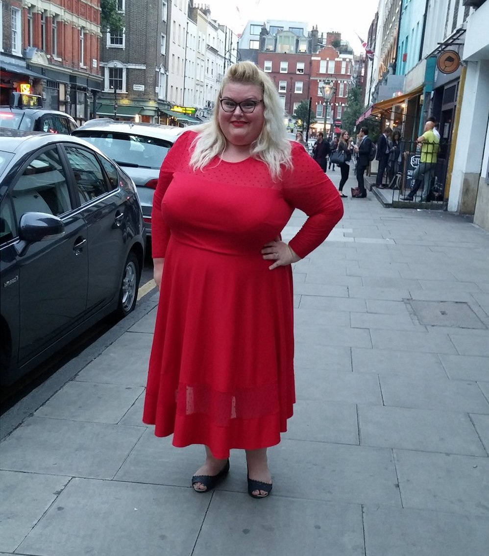 Simply Be- Jameela-Jamil-red-ponte-midi-dress plus size red polka dot dress