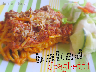 Baked Spaghetti is traditional spaghetti baked in the oven. Life-in-the-Lofthouse.com