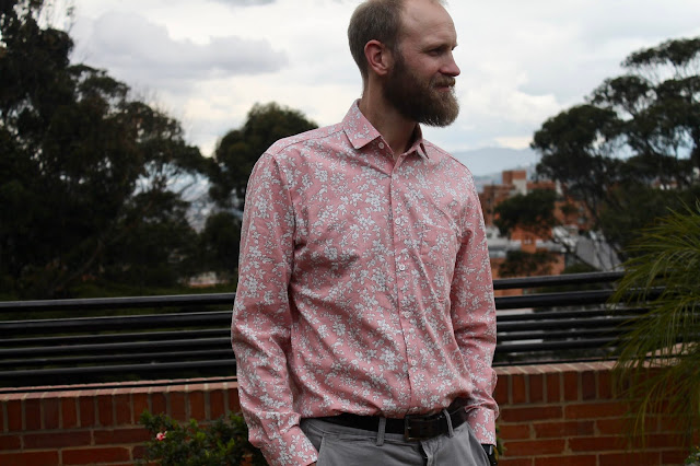 Pink floral men's button-down shirt from the Liesl and Co. All-Day Shirt sewing pattern.
