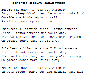 before the dawn judas priest letra